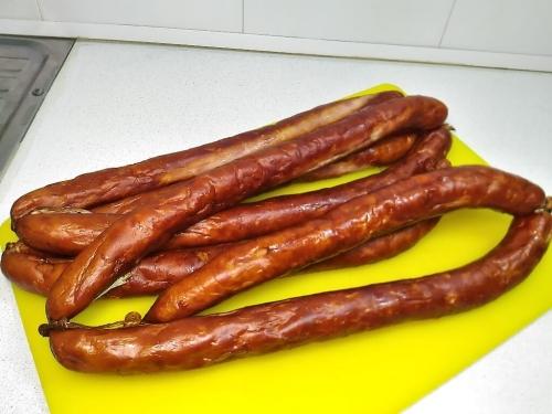 Домашняя копченая куриная колбаса
